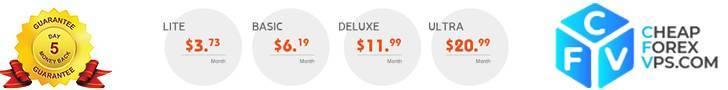 cheap forex VPS banner met prijzen. Top 3 VPS voor traden